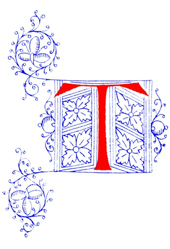 decorative initial letter t from fifteenth century nos  4
