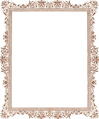 Decorative clip-art Victorian border, antique browndetails