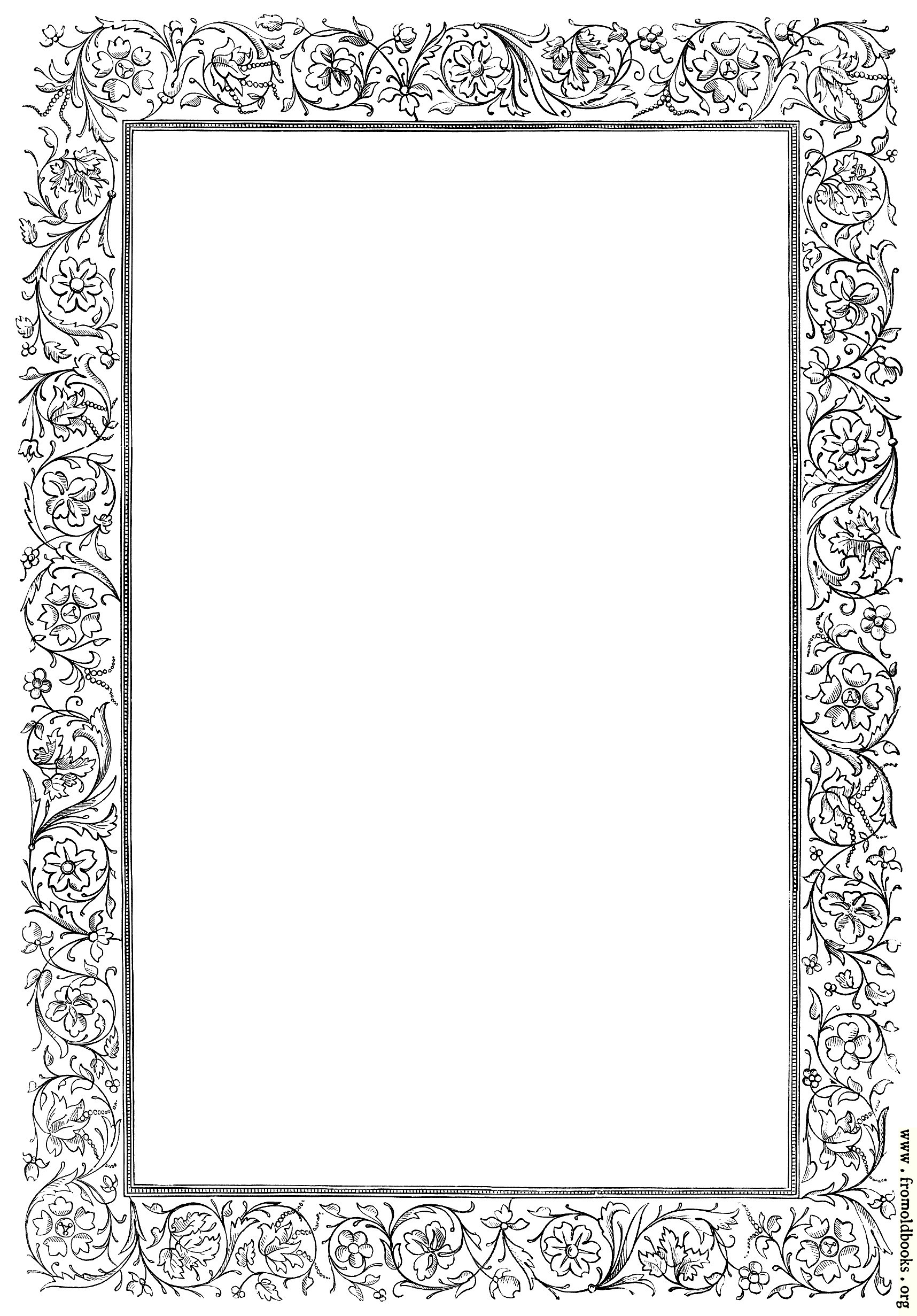 Free clip art victorian border of twigs and leaves image 330x500