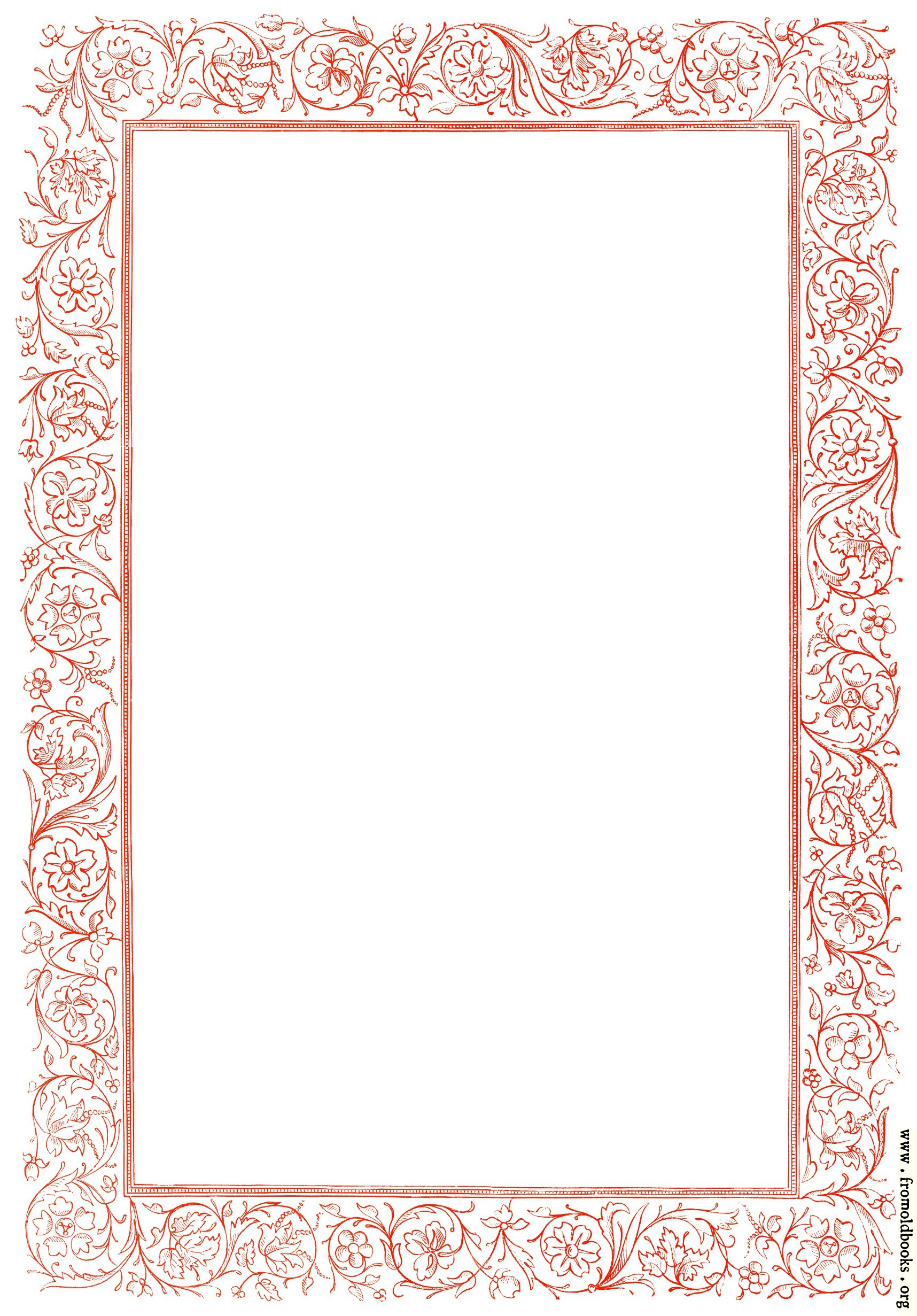 Victorian Floral Border Red