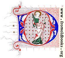Fourteenth-Century illuminated D with saint