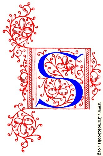 Decorative initial letter S from fifteenth Century Nos. 4 and 5. [ details ]