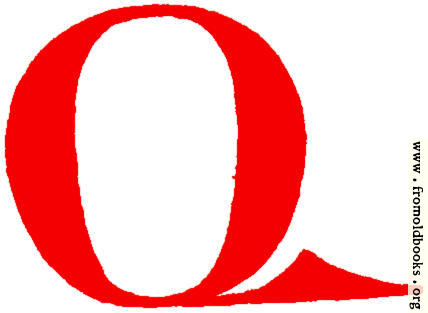 [Picture: Clip-art: calligraphic decorative initial capital letter Q from XIV. Century  No. 1]
