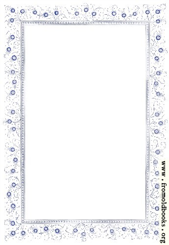 [Picture: Vintage border with peacock-feather style flowers, in blue]
