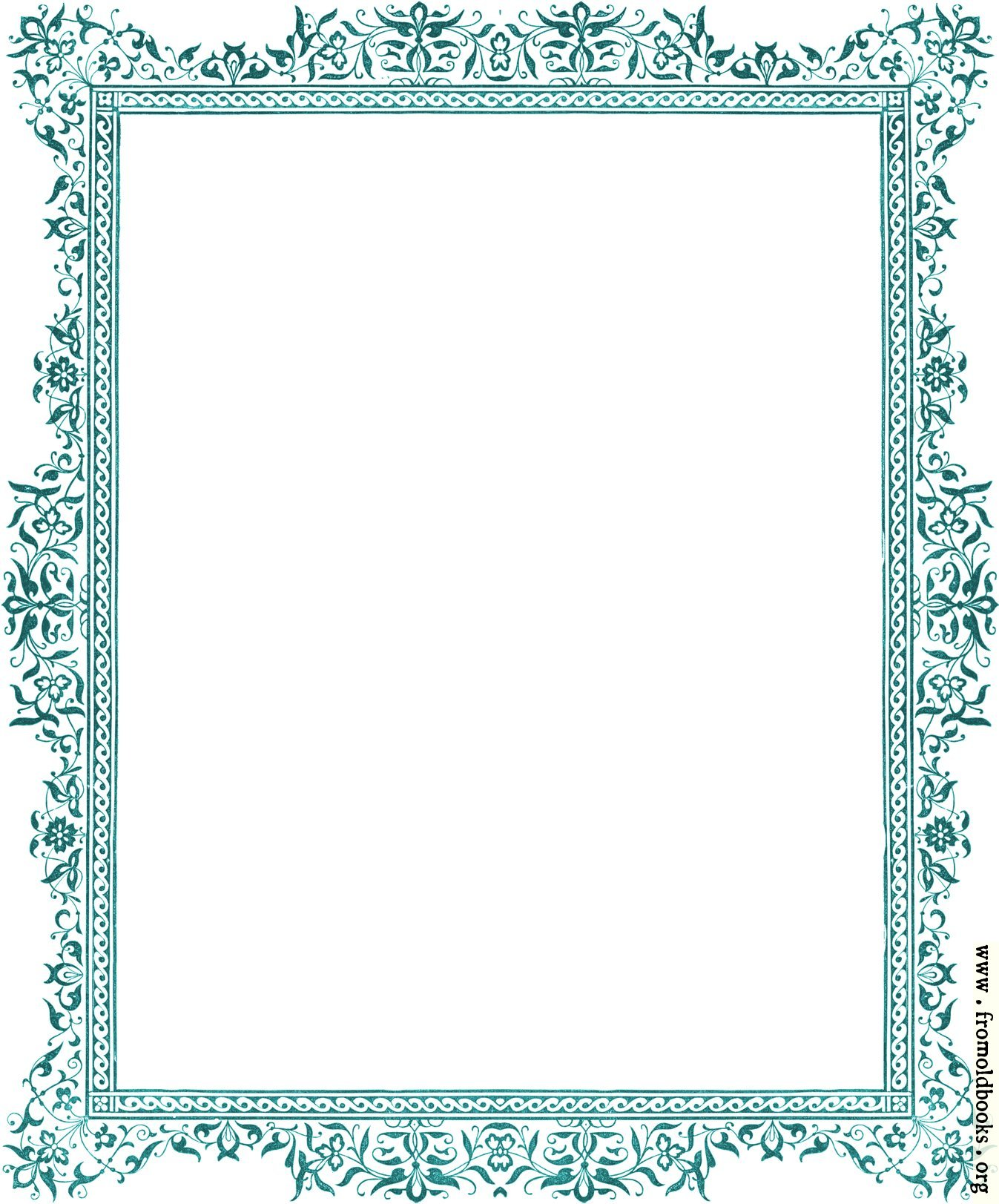 Decorative clip art Victorian border, antique green [image 1347x1623 ...