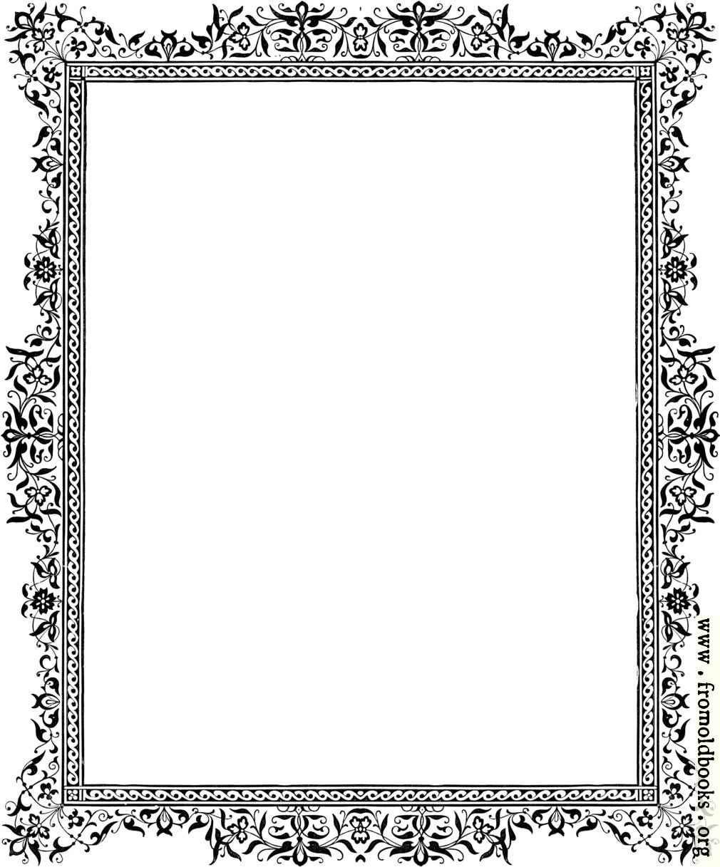 Decorative clip-art Victorian border, Black and White ... | 1010 x 1217 jpeg 187kB