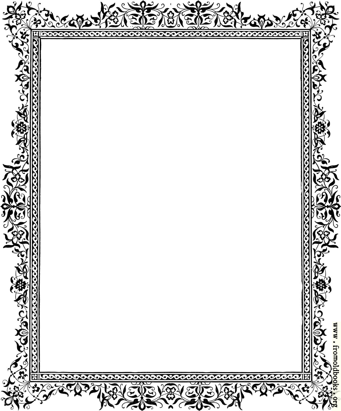 Decorative clip-art Victorian border, Black and White details