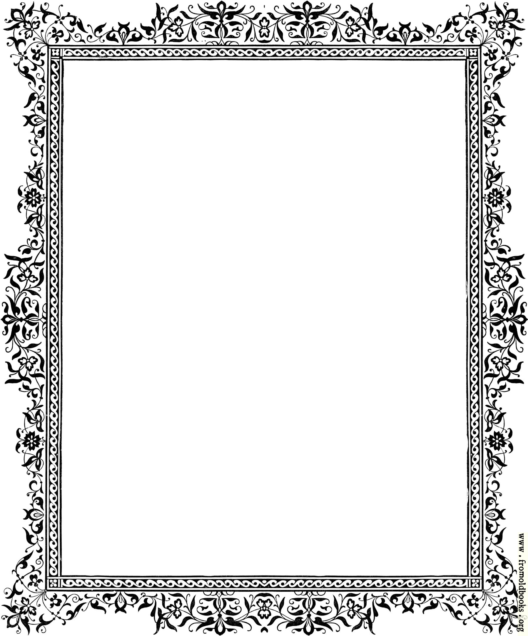 Decorative clip art victorian border black and white details