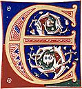 Decorative initial letter E from 11th century.
