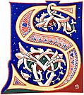 [picture: Decorative initial letter ``S'' from 11th century.]