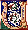 Decorative initial letter ?U? or ?V? from 11th century.