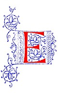 Decorative initial letter E from fifteenth Century Nos. 4 and 5.