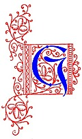 Decorative uncial initial letter G from fifteenth Century Nos. 4 and 5.