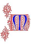 Decorative uncial initial letter M from fifteenth Century Nos. 4 and 5.