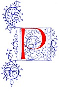 Decorative initial letter P from fifteenth Century Nos. 4 and 5.