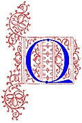 Decorative initial letter Q from fifteenth Century Nos. 4 and 5.