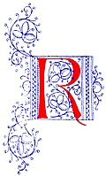 Decorative initial letter R from fifteenth Century Nos. 4 and 5.