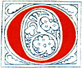 Clip-art: calligraphic decorative initial capital letter O from Plate 65