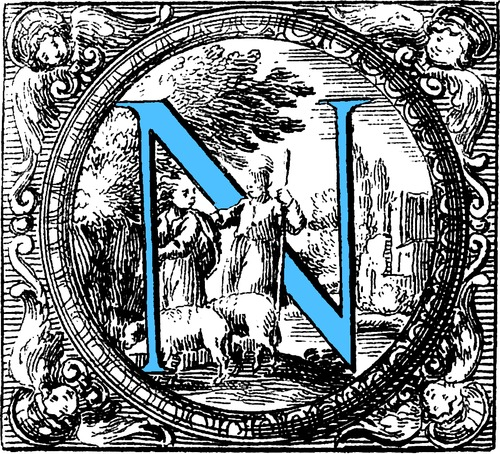historiated decorative initial capital letter n in blue