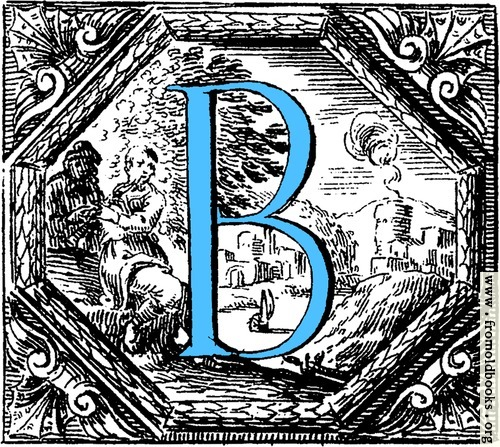 [Picture: Historiated decorative initial capital letter B in Blue]