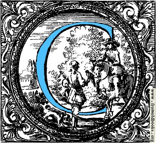 [Picture: Historiated decorative initial capital letter C in Blue]