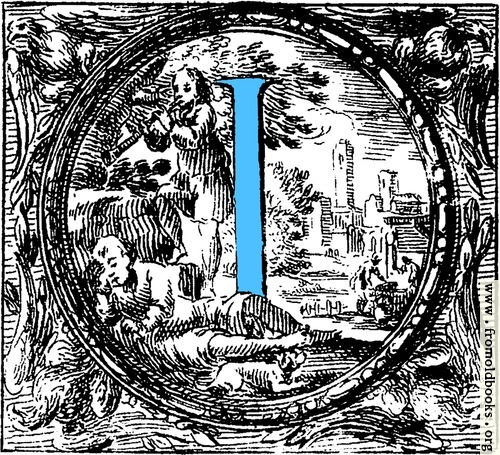 [Picture: Historiated decorative initial capital letter I in Blue]