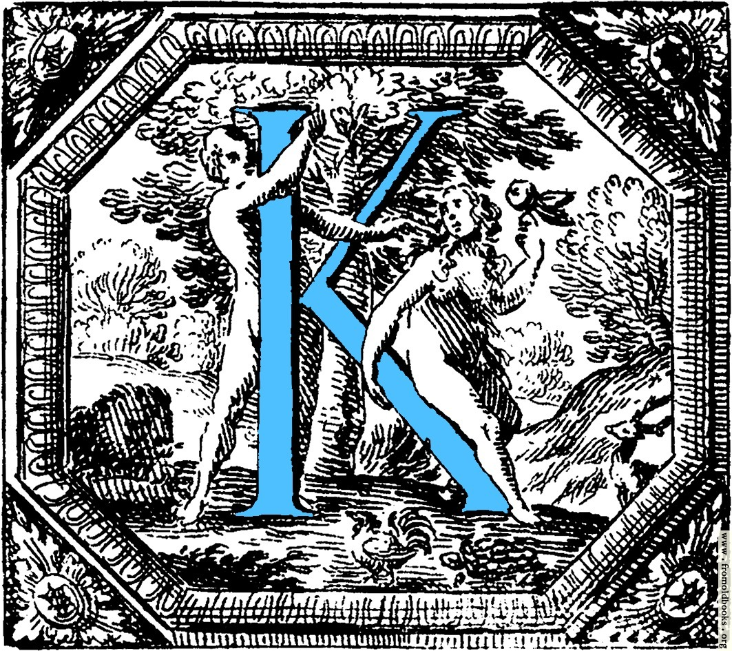 Historiated Decorative Initial Capital Letter K In Blue