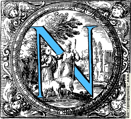 [Picture: Historiated decorative initial capital letter N in Blue]