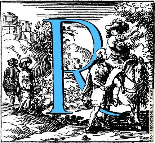 [Picture: Historiated decorative initial capital letter R in Blue]