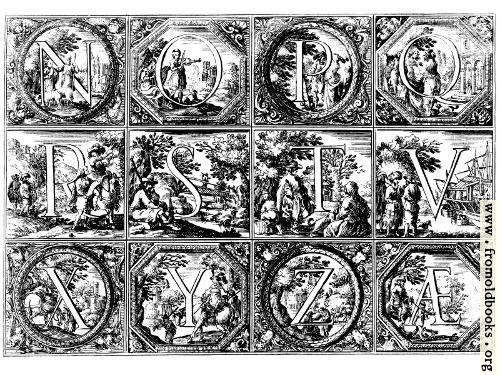 [Picture: Valerio Spada: Historiated Alphabet, 1656--1659 [N-Z]]