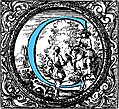 Historiated decorative initial capital letter C in Blue