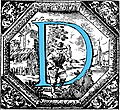 Historiated decorative initial capital letter D in Blue