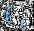 Historiated decorative initial capital letter G in Blue