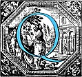Historiated decorative initial capital letter Q in Blue