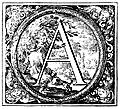 Decorated (Historiated) initial letter A by Valerio Spada