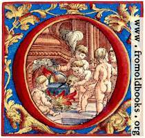 Decorative initial letter O with cherubs cooking soup (coloured version)
