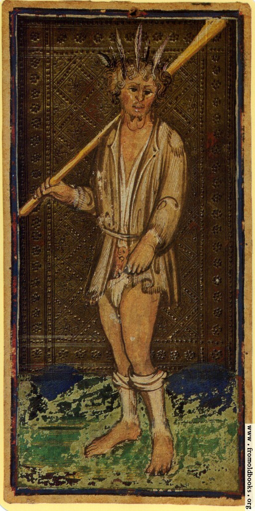 Visconti Sforza Tarot, The Fool, mid 15th Century