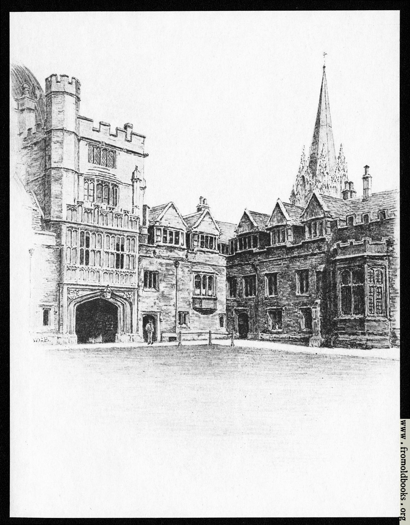 [Picture: II.—Brasenose College Quadrangle and St. Mary's Spire]