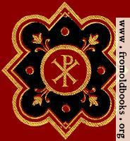 Chi-rho symbol (Px) in red, black ad gold from front cover.