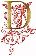 [picture: Decorative initial letter D, gold with red angel]