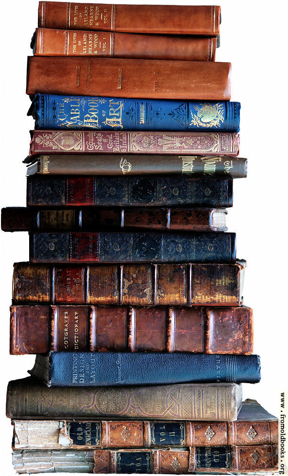 [Picture: Stack of old books, light background]