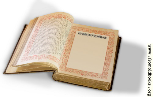 [Picture: Open Book with Victorian Border and Blank Page]