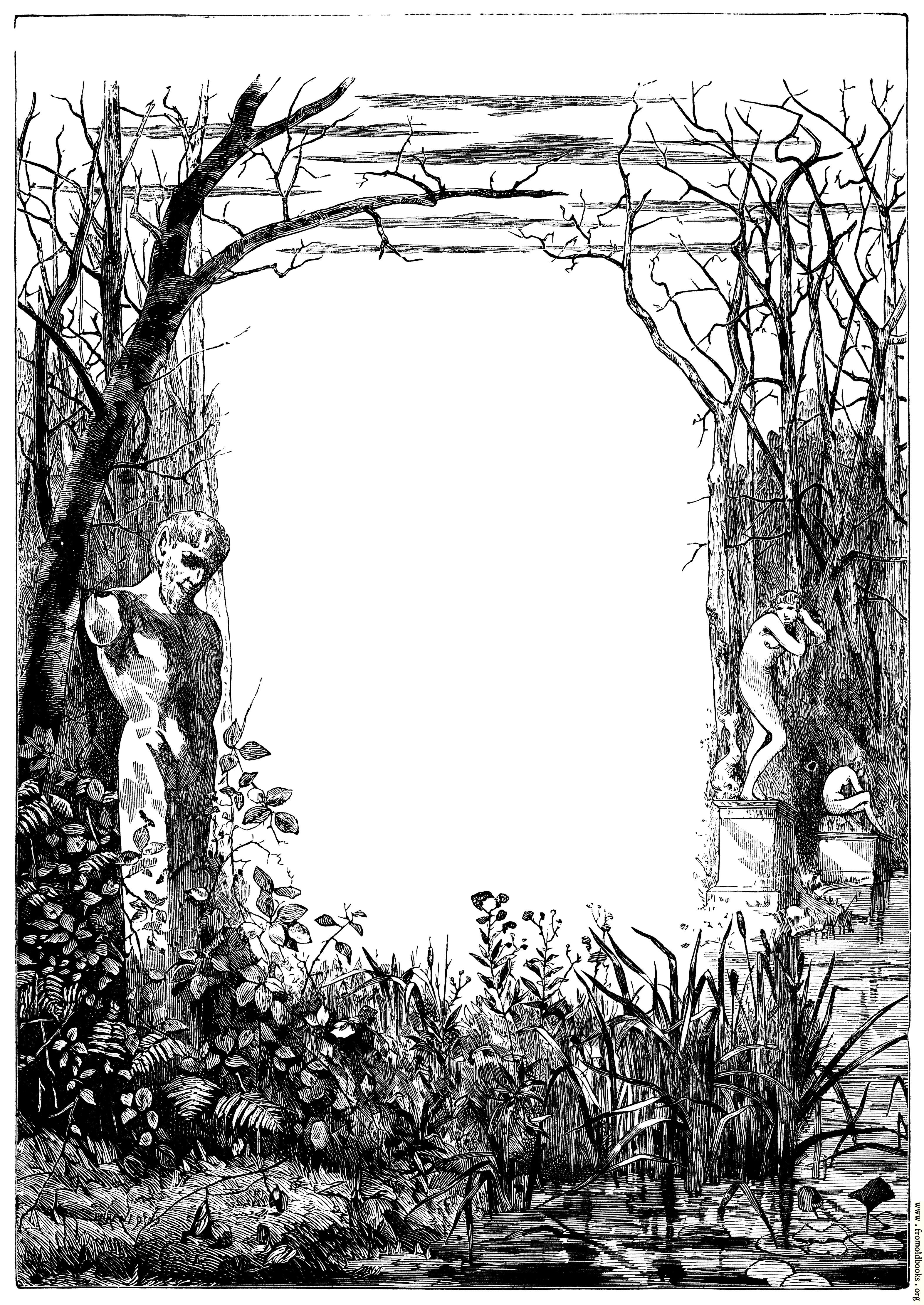 Mournful Contemplative Full Page Border With Statues