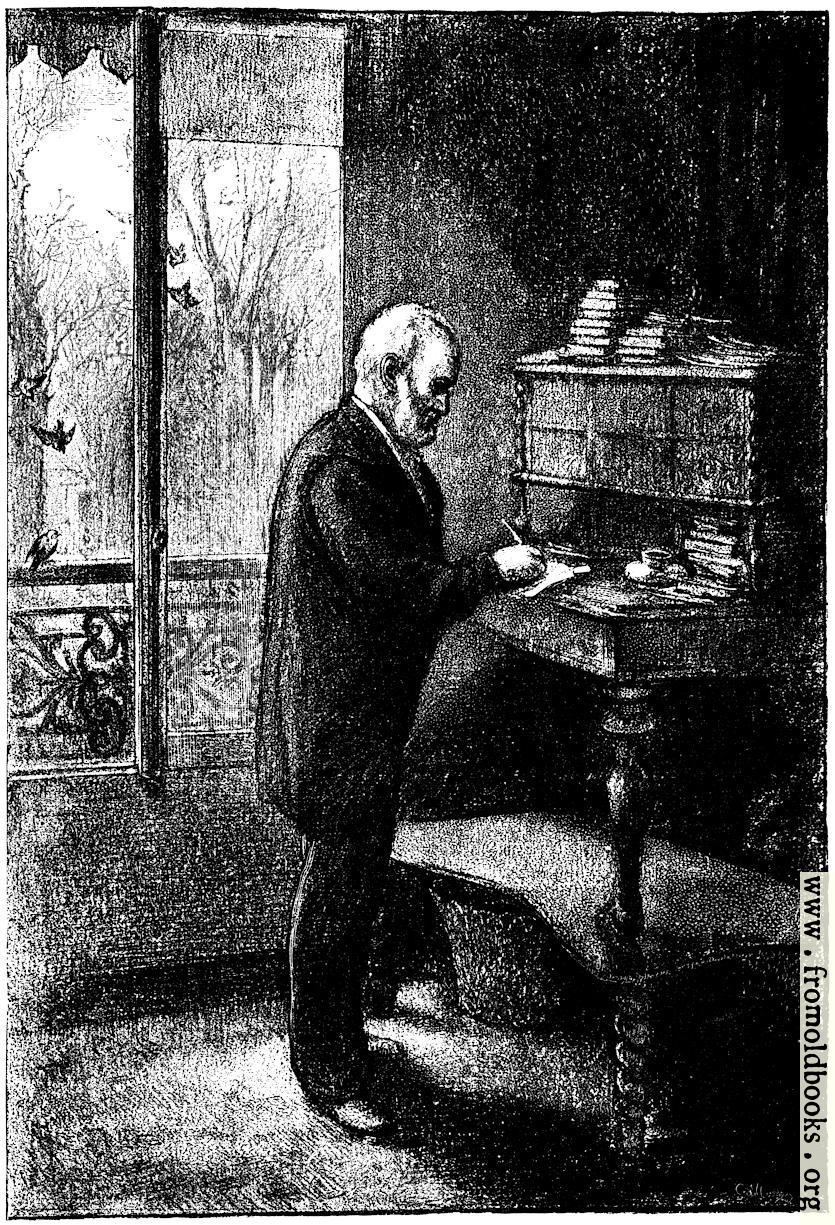 [Picture: Victor Hugo at his writing desk]