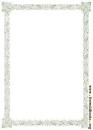 [Picture: Ten-piece floral border, green and purple]