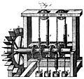 [Picture: Plate XCIX.—Hydrostatics.—Fig. 1. A quadruple pump-mill for raising water.]
