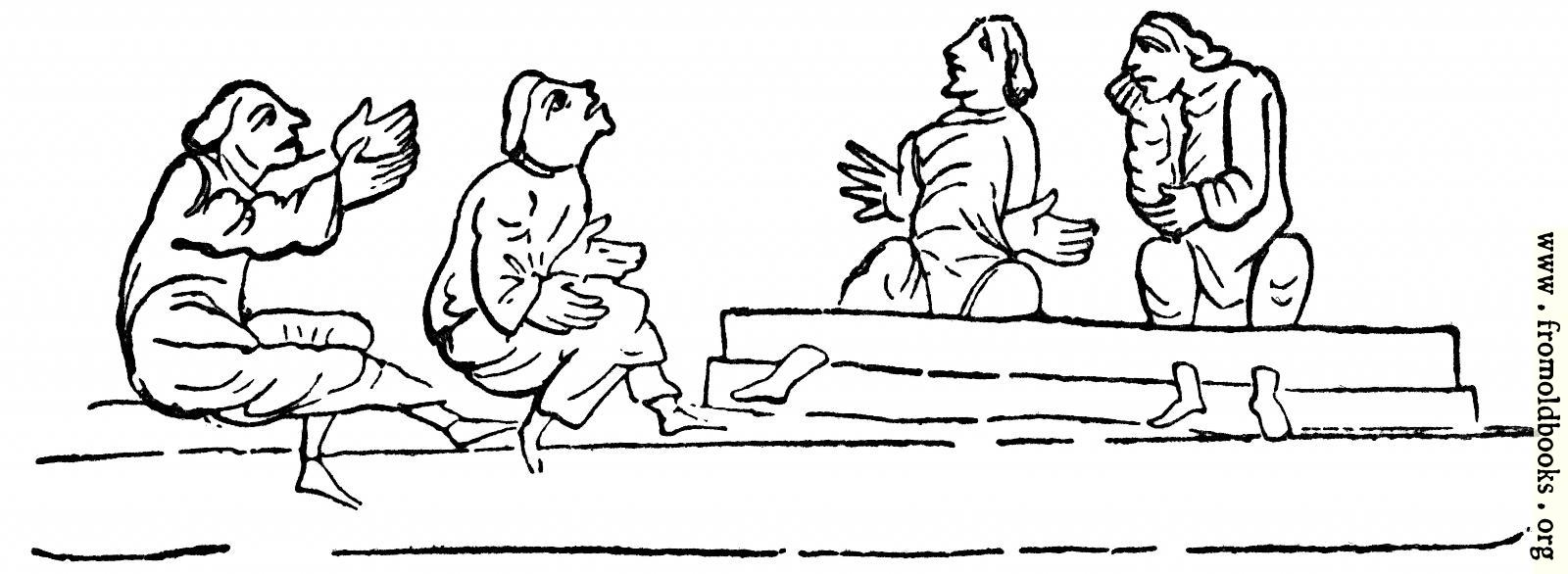 [Picture: Taunting Persons in the Stocks.]