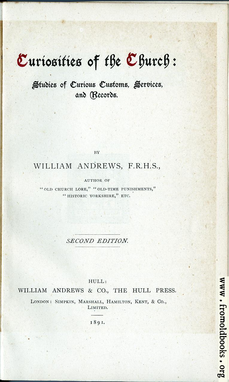[Picture: Title Page: Andrews' Curiosities]