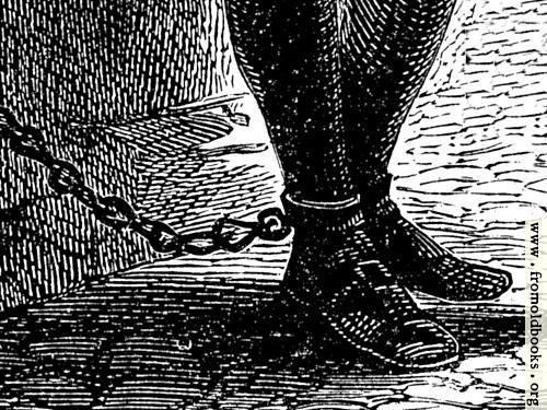 [Picture: John Bunyan's chained leg in prison]