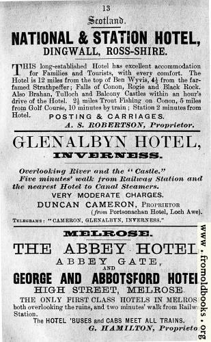 [Picture: Old Advert: 13: National & Station Hotel; Glenalbyn Hotel; Melrose hotels]